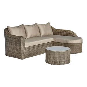 Ensemble de sofa extérieur 3 pièces, brun et beige