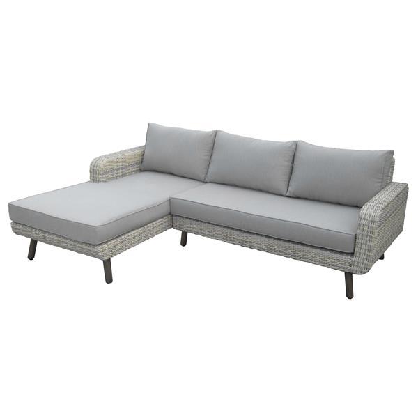Ensemble de canapés extérieur, 3 pièces, gris