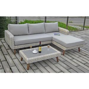 Outdoor 3-Piece Conversation Sofa Set - Grey