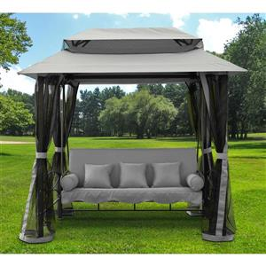 Henryka Gazebo Swing with Netting - Black and Grey