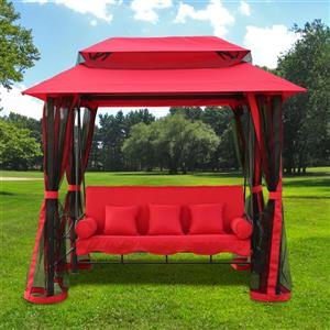 Gazebo Swing with Netting - Red and Black