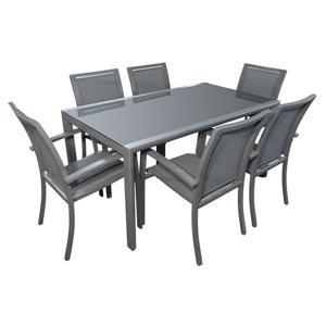 Ensemble extérieur à diner 7 pièces, gris anthracite