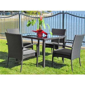 Henryka 5-Piece Outdoor Dining Set - Grey