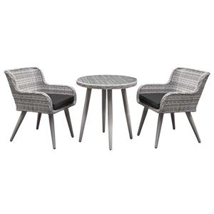 Henryka 3-Piece Exterior Bistro Set -Beige and Black