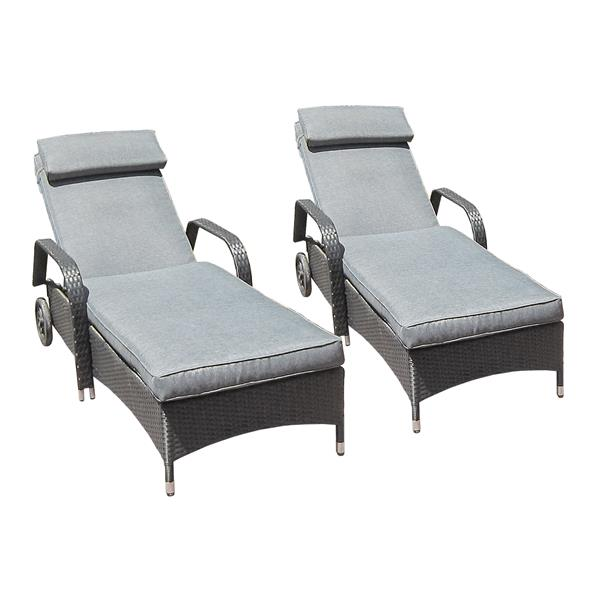 Ensemble de deux chaises longues et table, noir