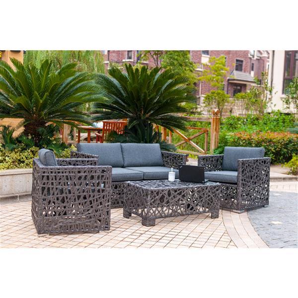 Henryka 4-Piece Outdoor  Conversation Set - Grey