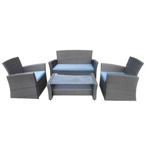 4-Piece Outdoor Conversation Set - Grey and Blue