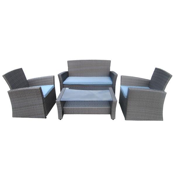 Ensemble extérieur de conversation 4 pièces, bleu et gris