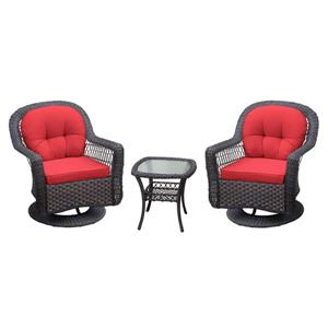 Henryka Outdoor 3-Piece Conversation Set - Red