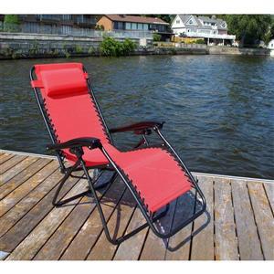 Chaise de patio ajustable, rouge