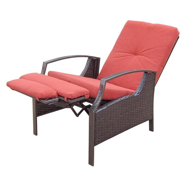 Chaise de patio ajustable en osier, rouge