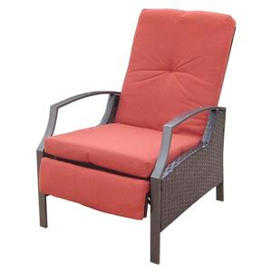 Henryka Wicker Patio Lounging Chair  - Adjustable – Red