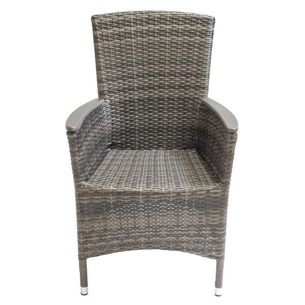 Chaise de patio en osier, gris