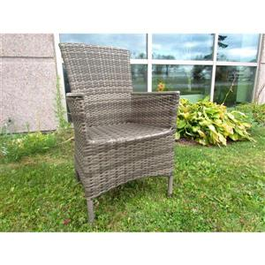 Chaise de patio en osier, gris