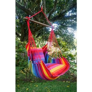 Henryka Large Hammock Swing with Cushions- Multicolour - Red Ropes