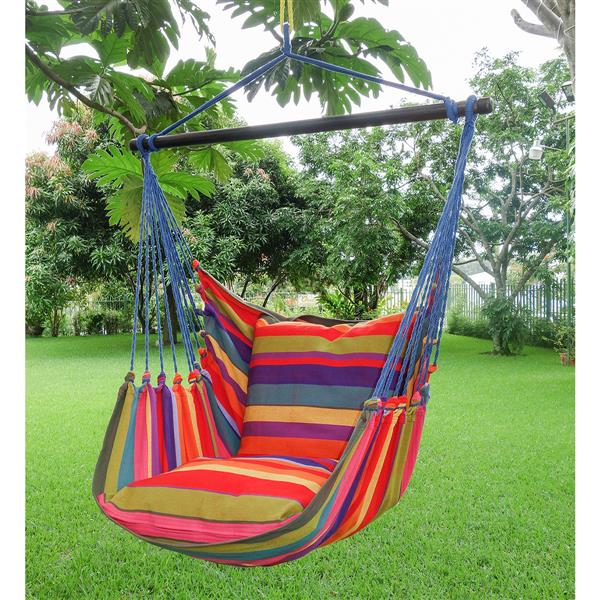 Large Hammock Swing with Cushions- Multicolour - Blue Ropes