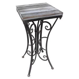 Indoor Outdoor Steel Plant Stand - Black and Driftwood