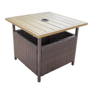 Table d'appoint pour patio, brun et beige