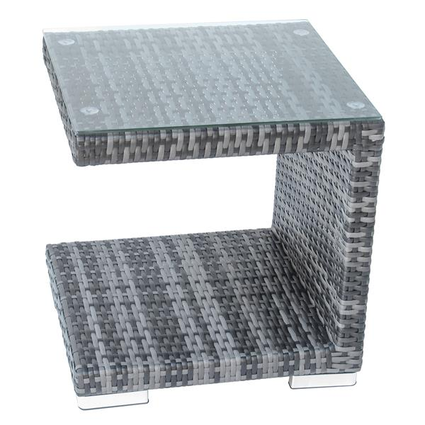 Table d'appoint en osier pour patio, gris