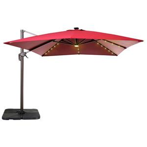 Cantilever Umbrella with LED Lights - 10'' - Red
