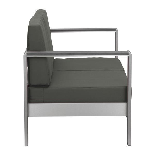 Coussin de fauteuil extérieur Cosmopolitain de Zuo Modern, 49 po x 49 po, gris foncé