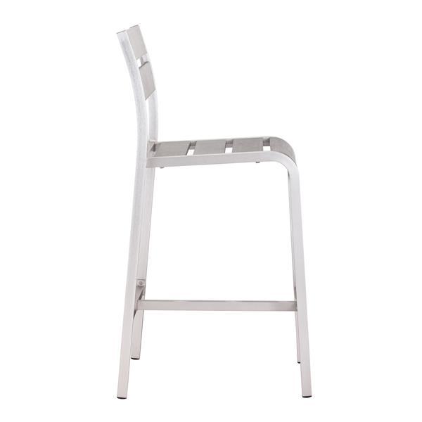 Zuo Modern Megapolis Outdoor Bar Chair - Brushed Aluminum - Set of 2