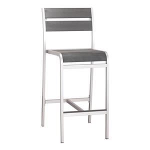 Zuo Modern Megapolis Outdoor Bar Chair - Brushed Aluminum - Set of 2