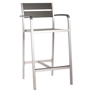 Chaise de bar avec bras Megapolis, aluminium brossé, 2 mcx