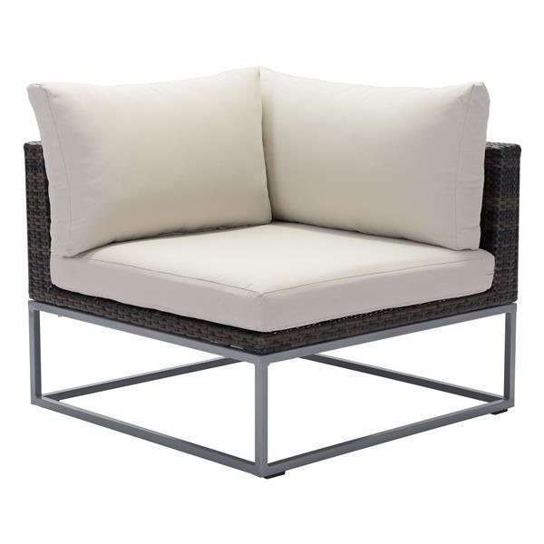 Zuo Modern Malibu Corner Chair - 18-in x 33-in - Brown and Beige