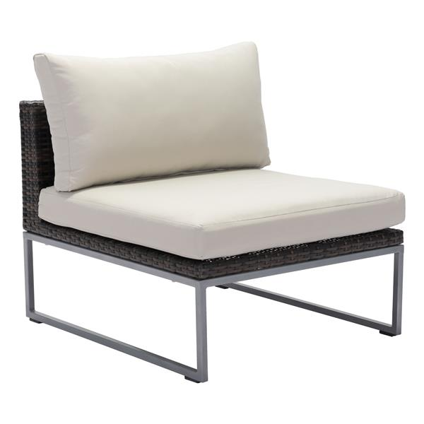 Zuo Modern Malibu Middle Chair - 18-in x 29-in - Brown and Beige