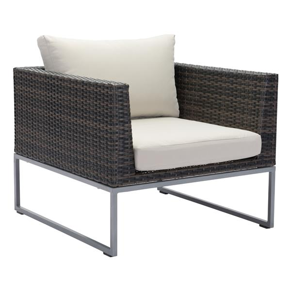 Zuo Modern Malibu Arm Chair - 18-in x 31.5-in - Brown and Beige