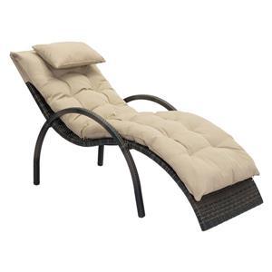 Chaise longue Eggertz Beach de Zuo Modern, 48 po x 28 po x 18 po, brun et beige