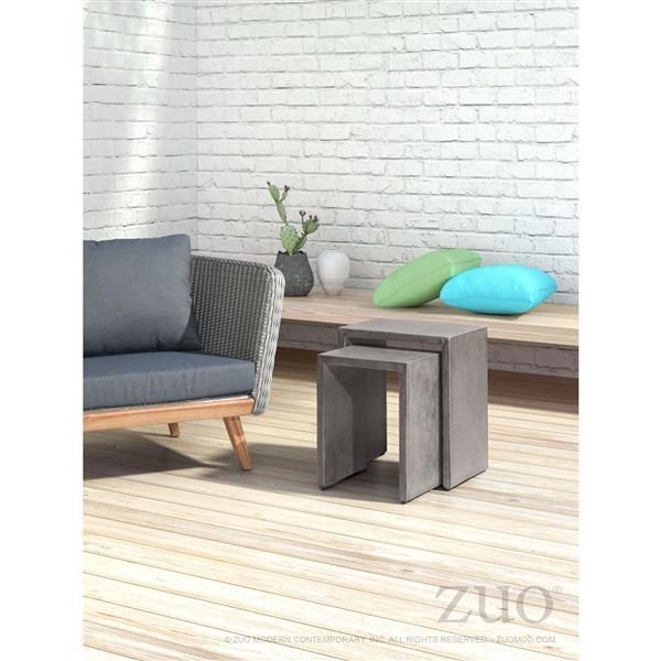 Table gigogne Mom de Zuo Modern, ciment, ens. de 2