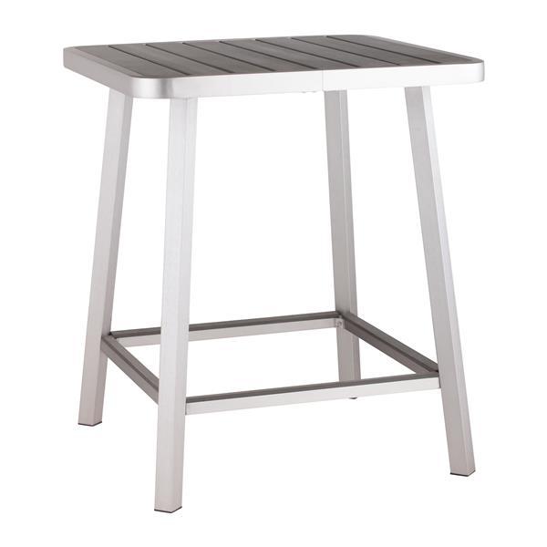 Table de bar Megapolis, aluminium brossé