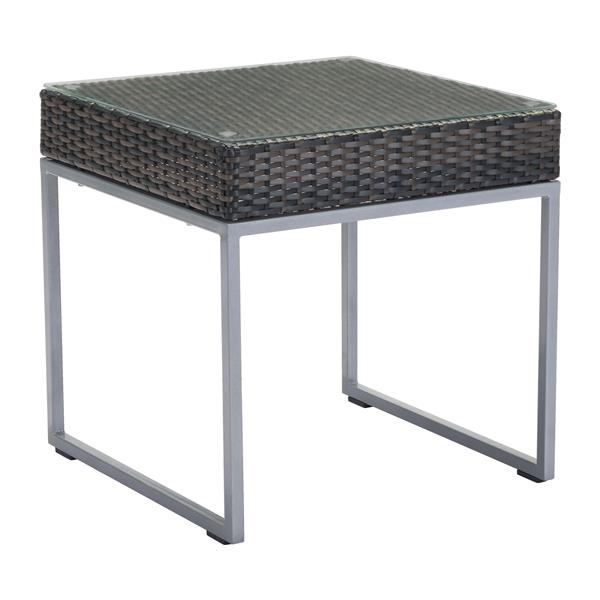 Malibu Side Table - Brown and Silver