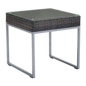 Table d'appoint d'extérieur Malibu de Zuo Modern, 22 po x 22 po, brun et chrome