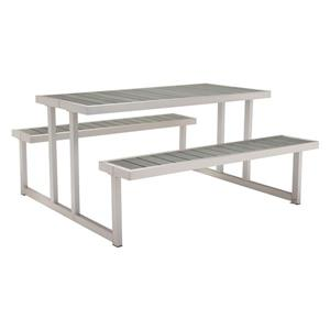 Table de piquenique Cuomo, aluminium brossé