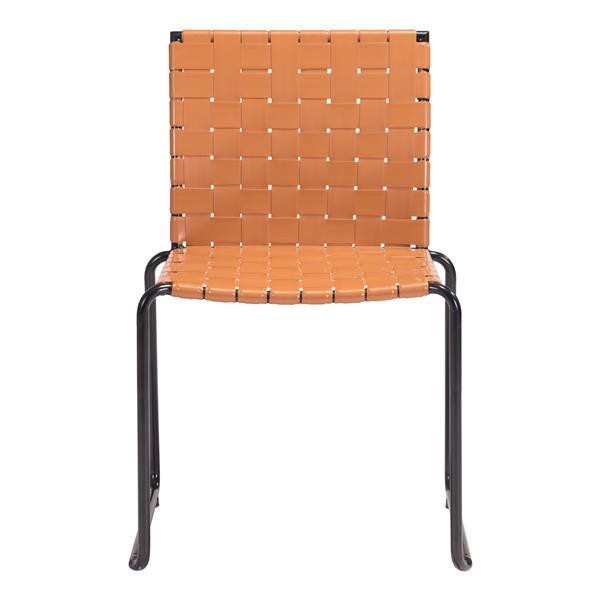 Chaise d'extérieur Beckett de Zuo Modern, 21,7 po x 33,1 po, orange/beige, ens. de 4
