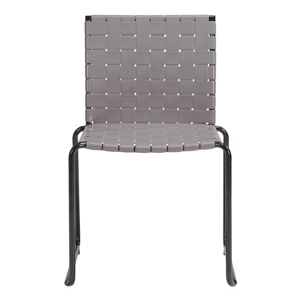 Chaise d'extérieur Beckett de Zuo Modern, 21,7 po x 33,1 po, gris, ens. de 4