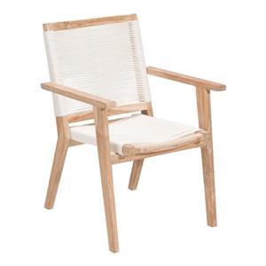 Chaise West Port, bois blanchi et blanc