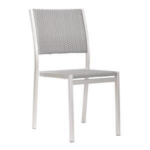 Chaise d'extérieur Metropolitan de Zuo Modern, 34,9 po, aluminium brossé, ens. de 2