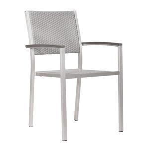Chaise d'extérieur Metropolitan de Zuo Modern, aluminium brossé, ens. de 2