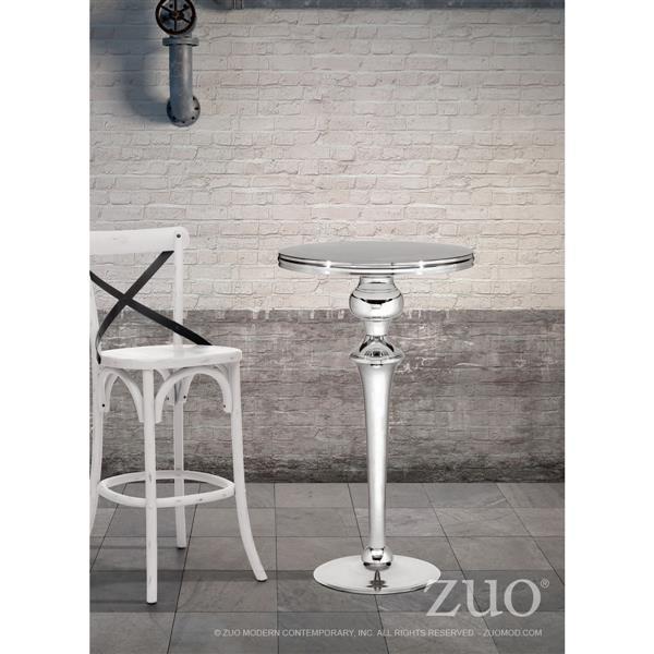 Table haute Molokai de Zuo Modern, 42,5 po x 23,6 po, aceir inoxydable