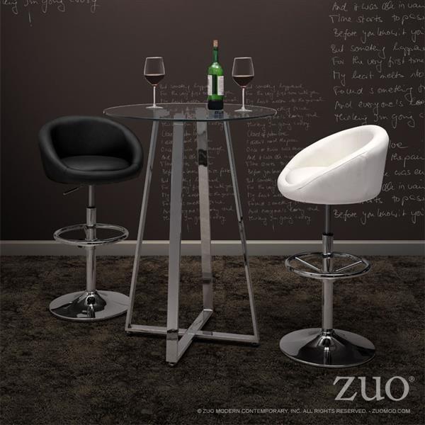 Table haute en verre Lemon de Zuo Modern, 43 po x 31,5 po, structure chromée