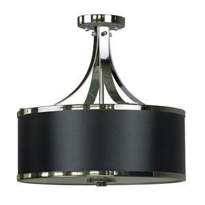 """Semi-plafonnier à 3 lumières, 15,4"""" x 16"""", noir"""