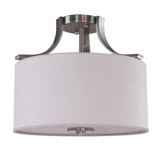 "Semi-plafonnier à 2 lumières, 15,25"" x 11,75"", satin blanc"
