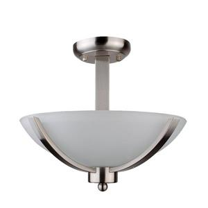 Whitfield Lighting Semi-Flush Mount Light - 2 Lights - 13-in x 12-in - Stainless Steel