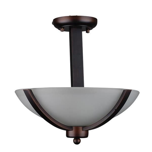 """Semi-plafonnier à 2 lumières, 12"""" x 13"""", bronze brossé"""