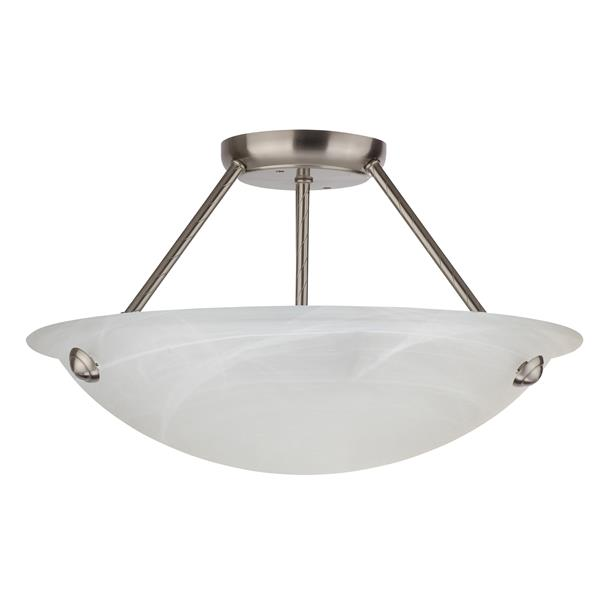 Semi-plafonnier Whitfield à 3 lumières, 16 po x 18 po, verre effet de marbre
