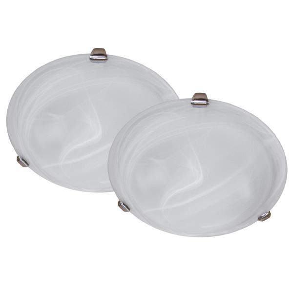 Plafonnier à 3 lumières, acier inoxydable satiné, 2/pqt